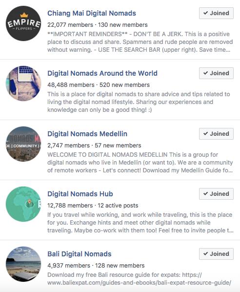 Digital Nomad Facebook Groups